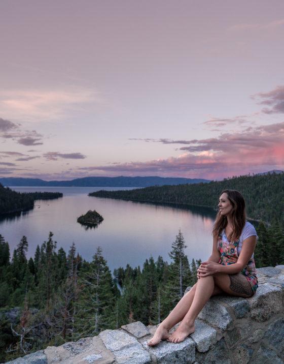 озеро Тахо, закат в изумрудной бухте