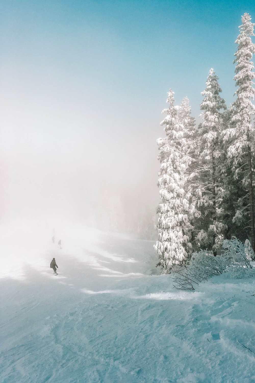 Катание на лыжах на озере Тахо