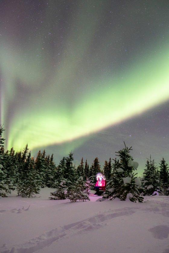 Аляска зимой северное сияние