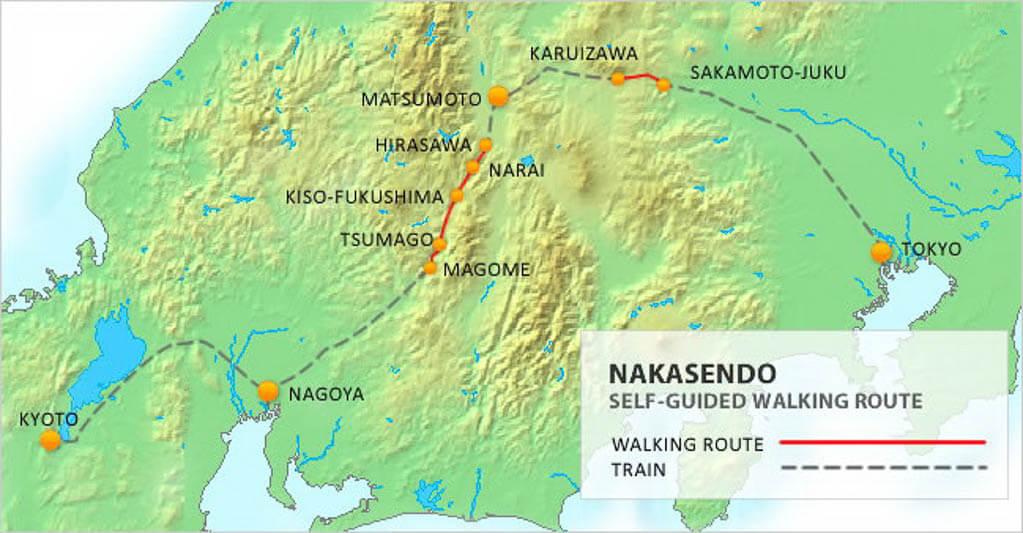 Карта маршрута Накасендо